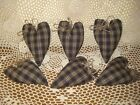 tan check fabric Country hearts bowl fillers Prim Home Decor