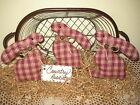 3 Handmade burgundy check fabric rabbit bowl fillers Country Easter Home Decor