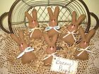 6 brown fabric Bunny Peeps bowl fillers handmade Prim Country Easter Home Decor