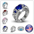 HOT 925 Silver Zircon Birthstone Wedding Engagement Heart Ring Rings Jeewelry