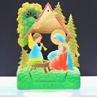 German Christmas Nativity Scene Angel Embossed Die Cut 1950s VTG Calendar Top