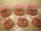 6 Christmas fabric gingerbread cookie ornaments bowl fillers Prim Home Decor