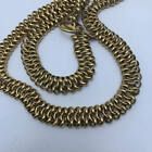 Vintage Signed Byzantine Style Gold Plated Anne Klein Wide Chaain Necklace