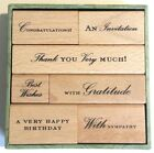 Anna Griffin Wood Mount Stamp Set 7 rubber stamps Birthday Sympathy Thank You