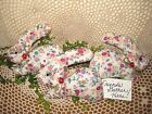 3 handmade floral fabric Cottage bunny rabbits bowl fillers Easter Home Decor