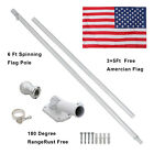 6ft Flag Pole Tangle Free Spinning Outdoor W 1 Free US American Flag Kit White