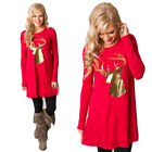 Autumn Women Christmas Festive Dress Round Collar Elk Long Sleeve Short Dress US