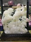 Natural White Jade Stone Carved Ganoderma Two Red-Crowned Crane Birds Art Statue