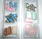 Small Scrap Book Crafting Lot Ribbon Buttons Brads Baby Pink Blue Silver