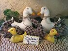 2 Handmade fabric Ducks 3 bunnies 2 chicks bowl fillers Prim Country Home Decor