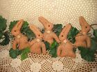 Set of 5 handmade Floral fabric rabbits Easter Tree ornaments Country Home Decor