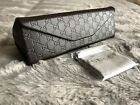 NEW Gucci Dark Brown Triangle Foldable Glasses Case + Gucci Cleaning Cloth