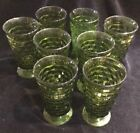 's 70's Avocado Green Cut Glass Footed Water Glass Glasses 6