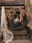 Primitive Dried Gourd Corn Cobs Wreath Homestead Early Look Door Keep