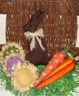 Primitive Easter Gathering Bunny 2 carrots 3 flowers bowl filler cupboard tuck