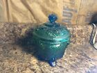 Vintage Jeanette Lidded Carnival Glass Footed Candy Dish in Blue and Green