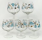 Lot 5 Vintage Federal Glass Amoeba Boomerang Turquoise Gold Brandy Snifter SCP