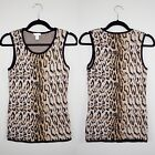 Chicos Leopard Animal Print Sleeveless Blouse Top Size 0 Career