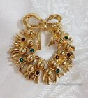Vintage Christmas Holiday Bow Wreath Brooch Rhinestone Pin Signed MC LIND 14K GE