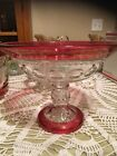 Tiff Kings Crown Ruby Red Thumbprint Fruit Bowl Mint Condition