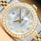 ROLEX LADIES SILVER DIAMOND DIAL DATEJUST 18K YELLOW GOLD/STAINLESS STEEL WATCH