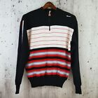 SANTINI SMS Mens L Wool Cycling Sweater Jersey Red Black Stripe Vintage Italy