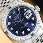 ROLEX MENS DATEJUST 18K WHITE GOLD DIAMOND SAPPHIRE & STEEL BLUE DIAL WATCH