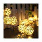 Battery Powered Warm White 20 LED 2.5M Rattan Ball String lights for Christma...