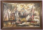 ABSTRACT OIL PAINTING VENICE ITALY SAILBOATS MID CENTURY POLLOCK STYLE SPLATTER