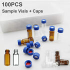 100pcs Clear Amber Glass Bottle 2ml Autosampler Hplc Vials Fits Agilent Thermo