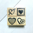 Recollections Rubber Stamp Set 1 Mini Wood Mounted Hearts Love Bee Dragonfly