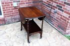 Antique Round Drop Leaf Rolling Coffee End Table Wooden Tea Cart Trolley +Wheels