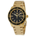 Seiko 5 Automatic Black Dial Gold-tone Stainless Steel Mens Watch SNZH60