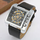 Goer Men Skeleton Automatic Mechanical Watches Square Dial Big Watches Leather