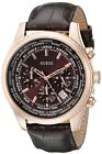 Guess Men's Brown Leather Strap Rose Gold Tone Sport Chronograph Watch - U0500G3