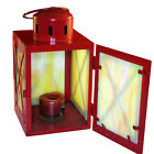 Vintage Mission Style Bright Red Lantern with Yellow SLAG GLASS Antique Lamp