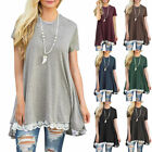 Summer Women Lace Short Sleeve A-Line Swing Loose Tunic Top Blouse T-Shirt Dress