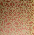 Reversible Woven Damask Upholstery Fabric Golden Straw Manderin Coral 54 BTY