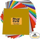 30 Pcs 12 x 12 Permanent Heat Transfer Adhesive Backed Vinyl Assorted Colors