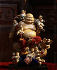 China Wucai Porcelain 10 Tongzi Kid Dragon Happy Laugh Maitreya Buddha Statue