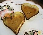AMBER glass HEART Shaped CANDY NUT CHANGE Dish TIARA Indiana set of 2 mint cond
