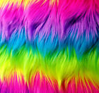 Neon Rainbow Fantastica Shaggy Faux Fur 60 Long Pile Stripes Rave Uv Reactive