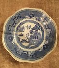 ANTIQUE BLUE WILLOW FOOTED DISH PLATE COMPOTE,SHENAGO CHINA, 6 1/4 INCHES