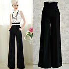 Womens High Waist Flare Vintage Business office Wide Leg Pants Palazzo Trousers