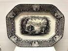 BLACK AND WHITE EARLY TRANSFER WARE PLATTER