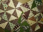 Antique Quilt Block 1800's Madders/Greens Hand sewn unwashed Crisp! 3 pcs 9