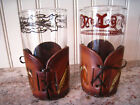 Vintage Libbey Bamco Horse Head Western Bar Glasses Set Of 2 W/Leather Holders