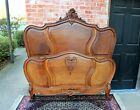 Antique French Solid Walnut Wood Louis XV Queen Size Panel Bed Bedroom Furniture