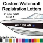 2 Sets of Watercraft Registration Numbers 3 lettering Vinyl Boat Jet Ski decals