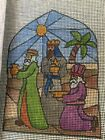 HK 3 Part Nativity Scene Hand Painted Needlepoint Canvas